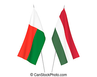Madagascar and Hungary flags - National fabric flags of ...