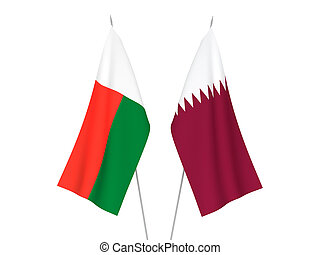 Madagascar and Qatar flags - National fabric flags of ...