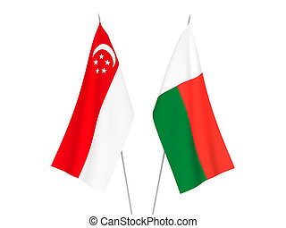 Madagascar and Singapore flags - National fabric flags of ...