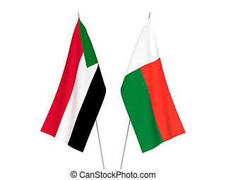 Madagascar and Sudan flags - National fabric flags of ...