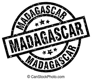Madagascar black round grunge stamp