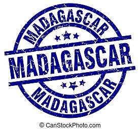 Madagascar blue round grunge stamp