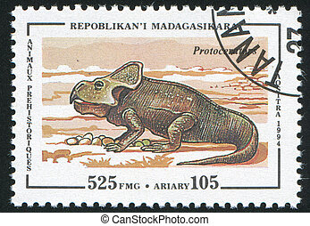 Prehistoric animal - Madagascar CIRCA 1994: stamp printed by...