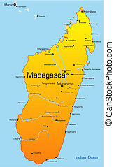 Madagascar country - Abstract vector color map of Madagascar...