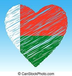 Madagascar flag, Heart shape, grunge style.