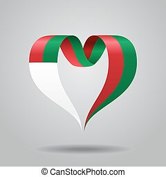 Madagascar flag heart-shaped ribbon. Vector illustration. -...