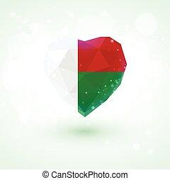 Madagascar flag in shape diamond glass heart. Triangulation style