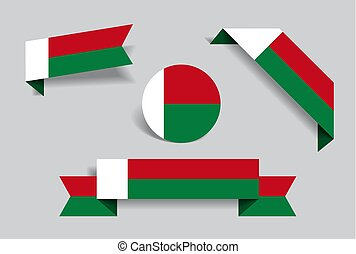 Madagascar flag stickers and labels. Vector illustration. -...