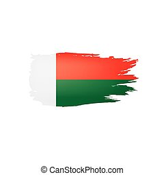 Madagascar flag, vector illustration on a white background.