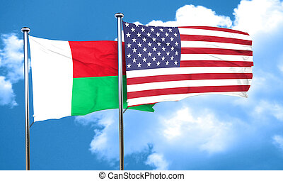 Madagascar flag with American flag, 3D rendering