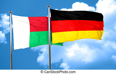 Madagascar flag with Germany flag, 3D rendering
