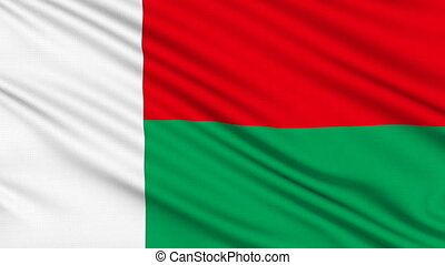 Madagascar Flag, with real structure of a fabric