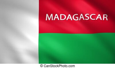 Madagascar flag with the name of the country