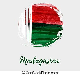 Madagascar grunge round flag background