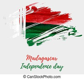 Madagascar Independence day grunge flag background