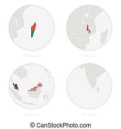 Madagascar, Malawi, Malaysia, Maldives map contour and national flag in a circle.