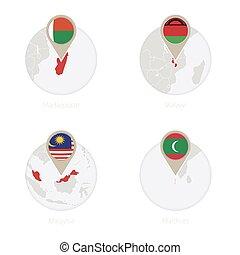 Madagascar, Malawi, Malaysia, Maldives map and flag in circle.