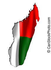 Madagascar - map and flag illustration.