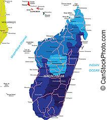 Madagascar map - Highly detailed vector map of Madagascar...