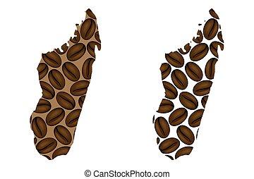 Madagascar map - Madagascar - map of coffee bean, Republic...