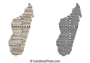 Madagascar map - Sketch Madagascar letter text map, Republic...