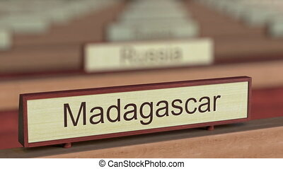 Madagascar name sign among different countries plaques at...