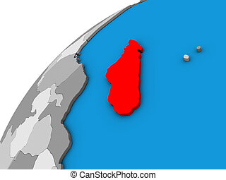 Madagascar on 3D globe