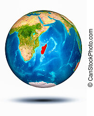 Madagascar on Earth with white background