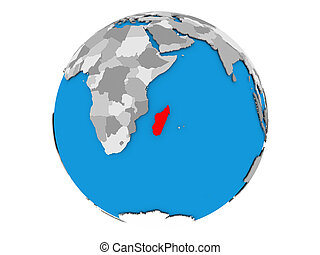 Madagascar on globe isolated