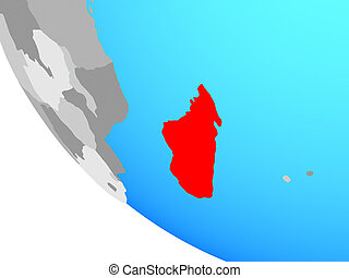 Madagascar on globe