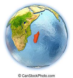 Madagascar on isolated globe