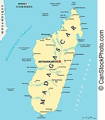 Madagascar Political Map with capital Antananarivo, national borders, important cities, rivers and lakes. English labeling and scaling. Illustration.