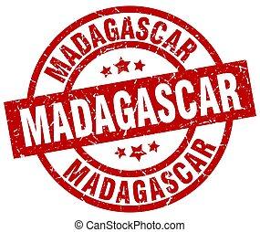 Madagascar red round grunge stamp
