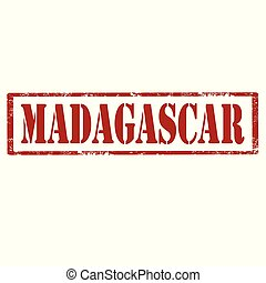 Madagascar-red stamp - Grunge rubber stamp with text...
