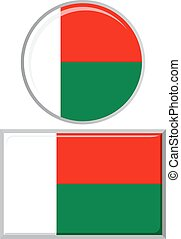 Madagascar round and square icon flag.
