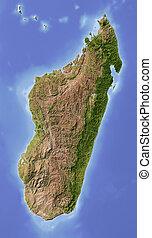 Madagascar, shaded relief map - Madagascar. Shaded relief...
