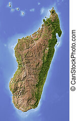 Madagascar. Shaded relief map. Surrounding territory greyed out. Colored according to vegetation. Includes clip path for the state area.