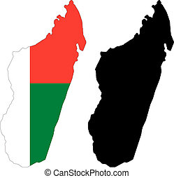 madagascar - vector map and flag of Madagascar with white ...