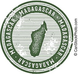 Madagascar Vintage Country Stamp for Tourism