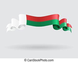 Madagascar wavy flag. Vector illustration. - Madagascar flag...