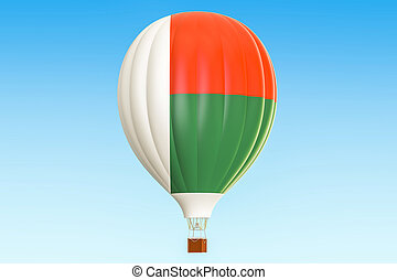madagaskar, balloon, prapor, stavět na odiv, překlad, horký, 3