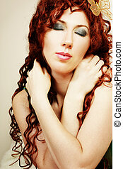 Madam Butterfly - Woman with long locks of red hair Added...