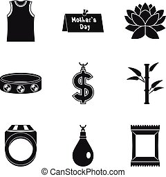 Madam icons set, simple style - Madam icons set. Simple set...