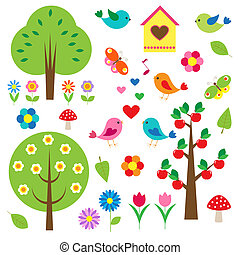 madarak, és, fa., vektor, állhatatos