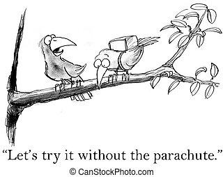 madarak, kipróbál, repülés, kívül, egy, ejtőernyő