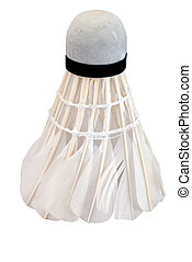 Made by hand shuttlecock for badminton isolated over white ...