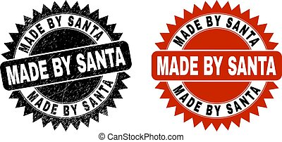 MADE BY SANTA Black Rosette Seal with Grunged Texture