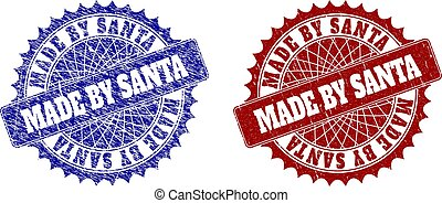 MADE BY SANTA Blue and Red Round Stamp Seals with Distress Surfaces