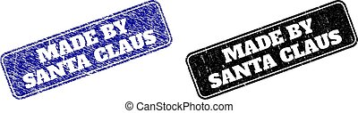 MADE BY SANTA CLAUS Black and Blue Rounded Rectangle Watermarks with Rubber Styles