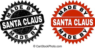 MADE BY SANTA CLAUS Black Rosette Stamp with Grunged Texture